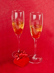 Two champagne goblets with jeweller box on