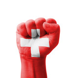 Fist of Switzerland flag painted, multi purpose concept