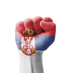 Fist of Serbia flag painted, multi purpose concept