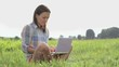 Young happy woman with laptop computer sitting on the grass