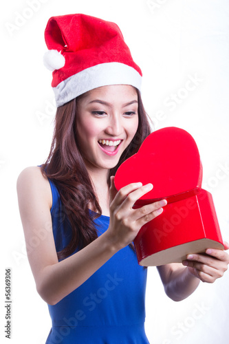 Lovely Asian girl hold gift