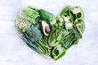 Healthy eating, green vegetables in heart shape