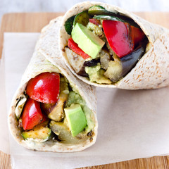 Healthy tortilla wraps with roasted vegetables