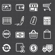 Business finance shopping icons and black background