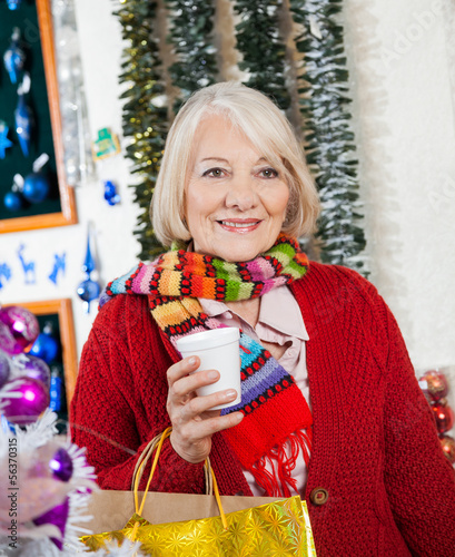 Beautiful Senior Woman At Christmas Store