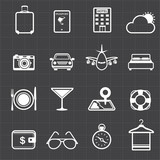 Travel hotel holiday icons and black background