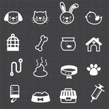 Pet icons and black background