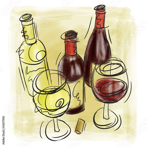 Wine Bottles and wine glasses