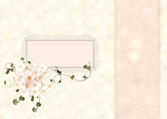 lacy frame on pastel floral background