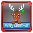 Reindeer Rudolph wishing Merry Christmas Button