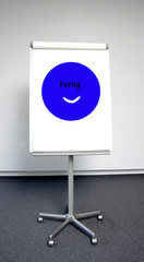 """Stilisierter blauer smiley als """"Ende""""-Signal"""