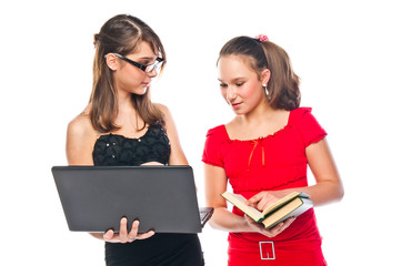 Two young beautiful girls student