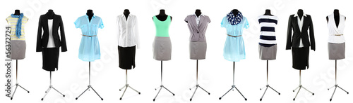 canvas print picture Collage of office clothes on mannequin  isolated on white