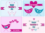 set of vector valentine cards
