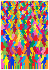 crowd of people, color vector background