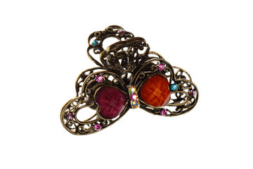 Isolated Hair Clip Metal Butterfly