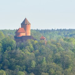 Turaida castle and Gauja valley in spring in Sigulda, Latvia