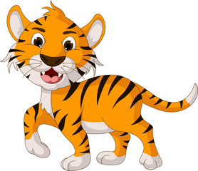 cute tiger cartoon walking