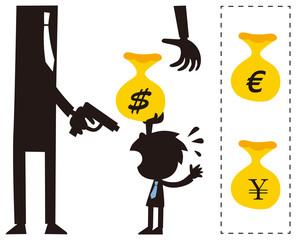 巨大な悪党にお金を渡す小さなビジネスマン