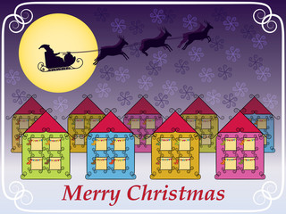 Merry Christmas background with Santa Claus sleigh