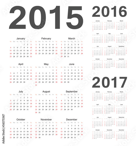 Вектор: European 2015, 2016, 2017 year vector calendars.