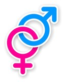 sticker of pink and blue female and male sex symbol