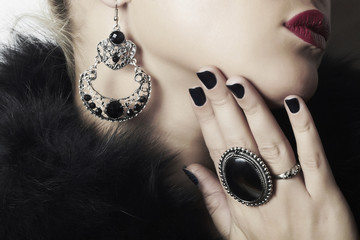 Jewelry and Beauty.beautiful woman.red lips.manicure