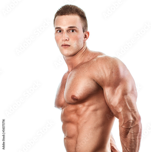 Muscular and torso and triceps of young man