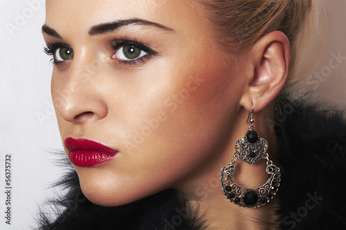 beautiful blond woman.Jewelry and Beauty.ornamentation