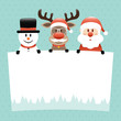 Snowman, Rudolph Glasses & Santa Label Dots Retro