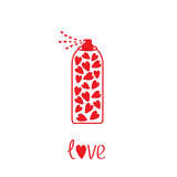 Deodorant, spray with hearts inside. Card