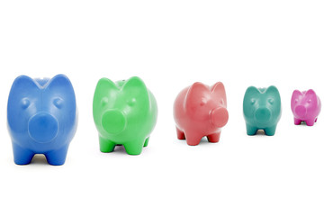 Colourful Piggy banks in a row