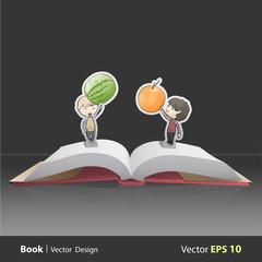 Kids holding fruits inside pop-up book
