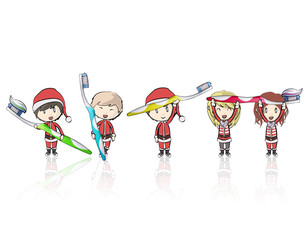 Kids with Santa Claus costume holding toothbrush.