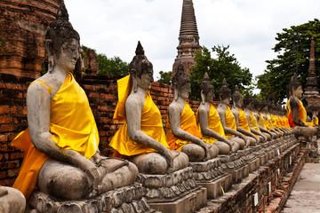 Buddha statue in Wat Yai Chai Mongkol. public temple in Ayuttaya