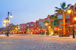 Beautiful architecture of Hurghada Marina at dusk in Egypt