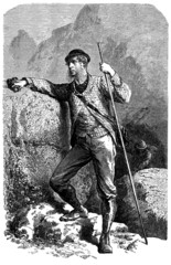 Tourist in the Alps area - Tourisme alpin - 19th century