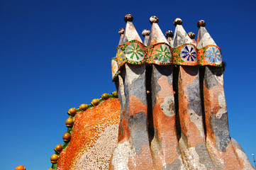 Casa Batllo, chimneys on the roof