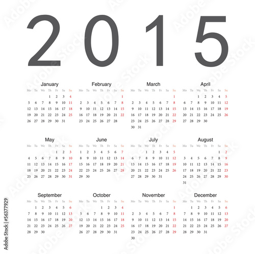 Simple european 2015 year vector calendar.