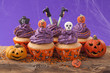 Group of halloween cupcake