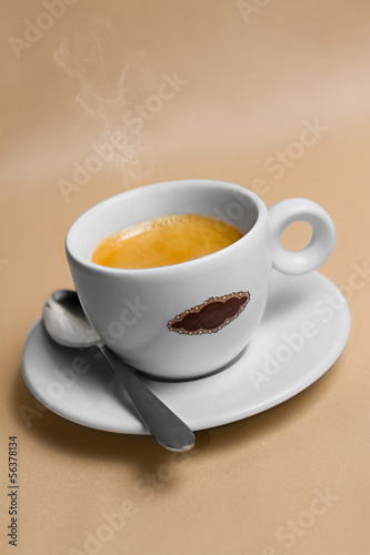 Portrait of cup of tasty coffe