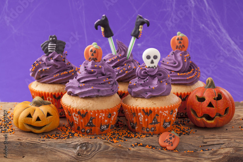 Group of halloween cupcake