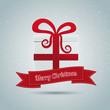 gift box red ribbon winter landscape