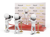 3D white people. Celebrity in a photocall