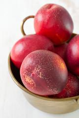 nectarines in dish