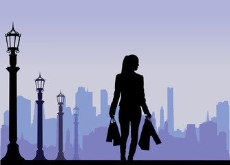 Girl in shopping silhouette, scene layered