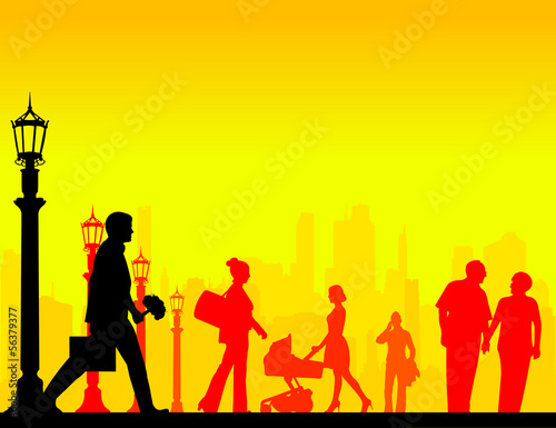 People in the street in different situation silhouette layered