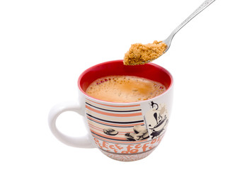fill brown sugar to a cup of espresso coffee
