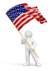 Man and US flag (clipping path included)