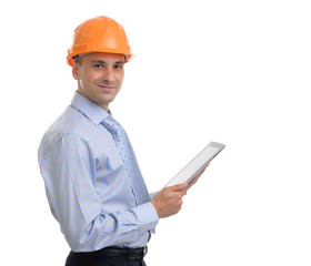 Young male architect wearing helmet